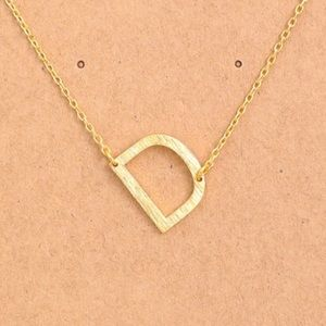 "Jewelry - Letter ""D"" Sideways Gold Initial Necklace"